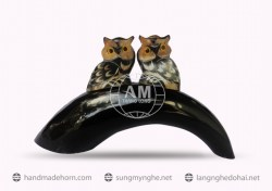 owls made from buffalo horn (2)